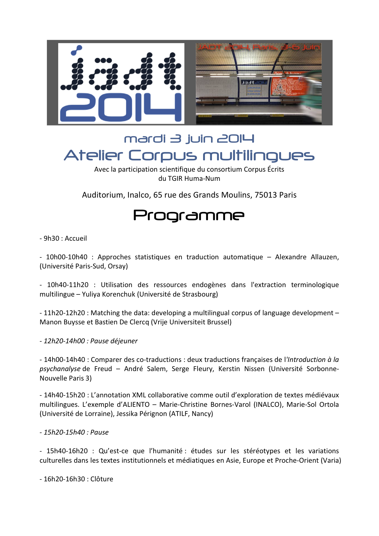 Atelier Corpus Multilingues
